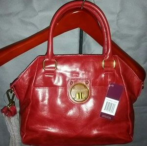 ELLIOT LUCCA RED LEATHER SATCHEL CROSSBODY NWT